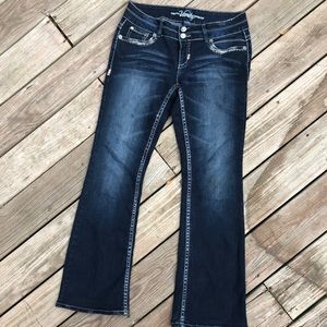 """Embellished boot-cut jeans. 31"""" inseam"""